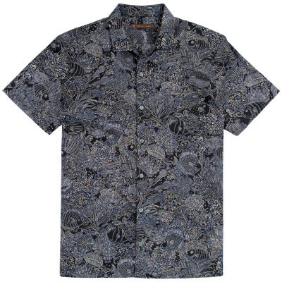 Men's Tori Richard Brown Label Cotton Lawn Relaxed Fit Short Sleeve Shirt, Coral Garden #MF06 Black