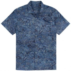 "Men's Tori Richard Brown Label Cotton Lawn Relaxed Fit Short Sleeve Shirt, Coral Garden #MF06 Navy ""USE COUPON TR2 AT CHECK OUT"""
