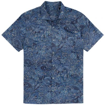 Men's Tori Richard Brown Label Cotton Lawn Relaxed Fit Short Sleeve Shirt, Coral Garden #MF06 Navy