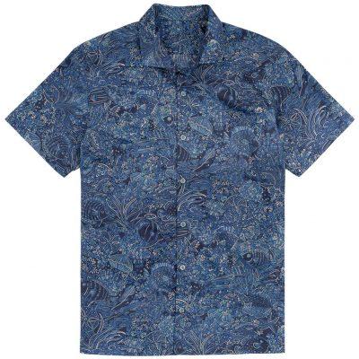 Men's Tori Richard Brown Label Cotton Lawn Relaxed Fit Short Sleeve Shirt, Coral Garden #MF06 Navy