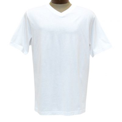 Men's Pima Cotton T Shirt, High-V Short Sleeve By Gionfriddo International #GK2005 White
