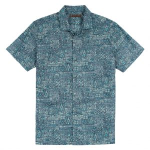 Men's Tori Richard Brown Label Cotton Lawn Relaxed Fit Short Sleeve Shirt, Maze Runner #6977 Midnight (SOLD OUT!)