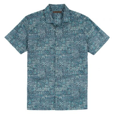 Men's Tori Richard Brown Label Cotton Lawn Relaxed Fit Short Sleeve Shirt, Maze Runner #6977 Midnight