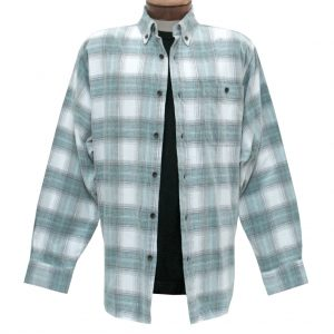 Men's Basic Options Corduroy Long Sleeve Yarn Dyed Hombre Plaid Shirt, #81043-11B Stone/Jade (L, ONLY!)