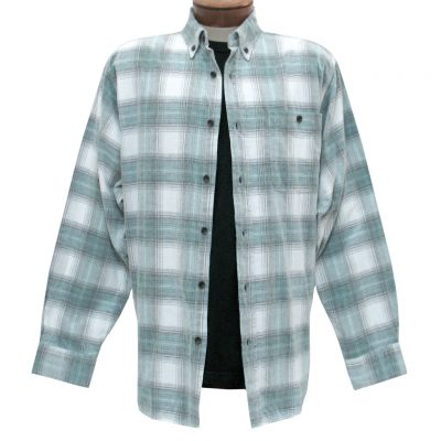 Men's Basic Options Corduroy Long Sleeve Yarn Dyed Hombre Plaid Shirt, #81043-11B Stone/Jade