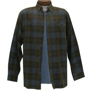 Men's Basic Options Corduroy Long Sleeve Yarn Dyed Tartan Plaid Shirt, #81043-13C Blue/Brown (L, ONLY!)