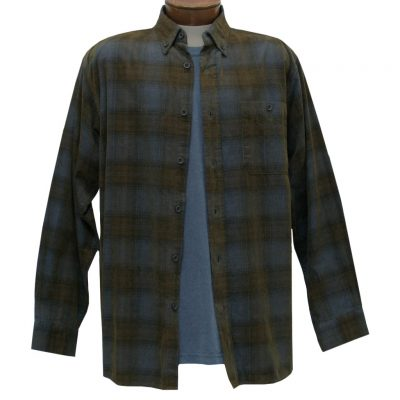 Men's Basic Options Corduroy Long Sleeve Yarn Dyed Tartan Plaid Shirt, #81043-13C Blue/Brown