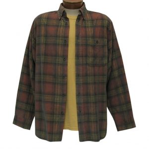 Men's Basic Options Corduroy Long Sleeve Yarn Dyed Hombre Plaid Shirt, #81043-15A Sunset/Black (L, ONLY!)