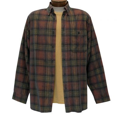 Men's Basic Options Corduroy Long Sleeve Yarn Dyed Hombre Plaid Shirt, #81043-15A Sunset/Black