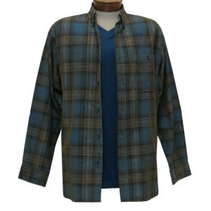 Men's Basic Options Corduroy Long Sleeve Yarn Dyed Hombre Plaid Shirt, #81043-93A Turquoise/Tan (L, ONLY!)