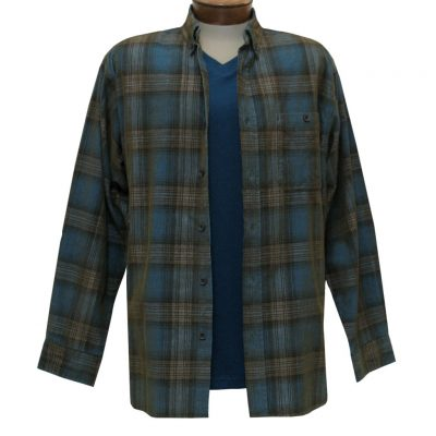 Men's Basic Options Corduroy Long Sleeve Yarn Dyed Hombre Plaid Shirt, #81043-93A Turquoise/Tan