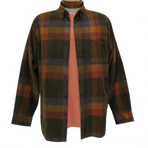 Men's Basic Options Corduroy Long Sleeve Yarn Dyed Plaid Shirt, #81845-18C Brown/Red Multi (L & XL, ONLY!)