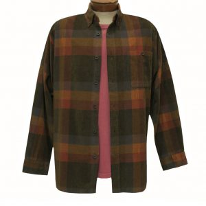 Men's Basic Options Corduroy Long Sleeve Yarn Dyed Plaid Shirt, #81845-18C Brown/Red Multi