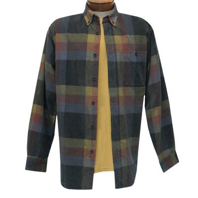 Men's Basic Options Corduroy Long Sleeve Yarn Dyed Plaid Shirt, #81845-35A Black/Grey/Red