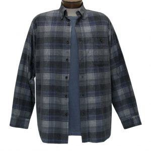 Men's Basic Options Corduroy Long Sleeve Yarn Dyed Tartan Plaid Shirt, #81940-43B Blue/Grey (ONLY SIZE LARGE IS ON SALE!)