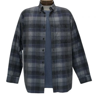 Men's Basic Options Corduroy Long Sleeve Yarn Dyed Tartan Plaid Shirt, #81940-43B Blue/Grey