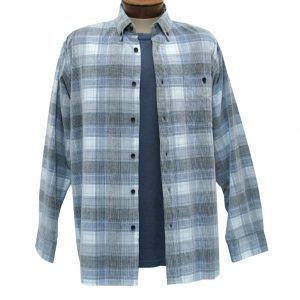 Men's Basic Options Corduroy Long Sleeve Yarn Dyed Tartan Plaid Shirt, #81940-43C Blue/Grey/White (L, ONLY!)
