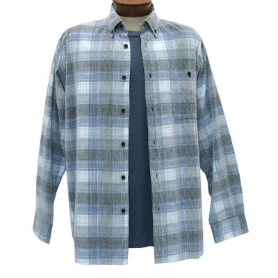Men's Basic Options Corduroy Long Sleeve Yarn Dyed Tartan Plaid Shirt, #81940-43C Blue/Grey/White