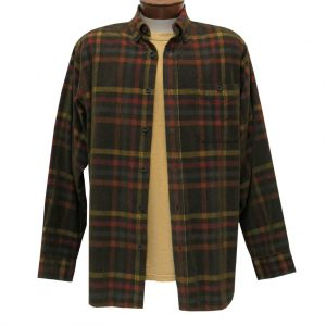 Men's Basic Options Corduroy Long Sleeve Yarn Dyed Plaid Shirt, #81941-25A Navy/Yellow/Red (L, ONLY!)