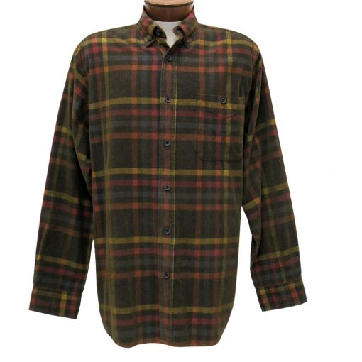 Men's Basic Options Corduroy Long Sleeve Yarn Dyed Plaid Shirt, #81941-25A Navy/Yellow/Red