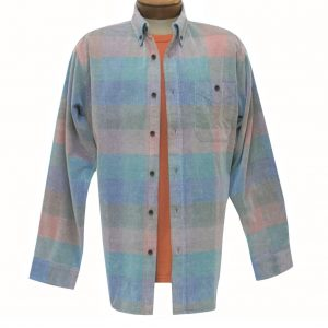 Men's Basic Options Corduroy Long Sleeve Yarn Dyed Plaid Shirt, #81948-3A Teal Multi (M & L, ONLY!)