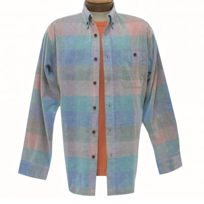 Men's Basic Options Corduroy Long Sleeve Yarn Dyed Plaid Shirt, #81948-3A Teal Multi