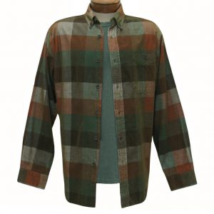 Men's Basic Options Corduroy Long Sleeve Yarn Dyed Plaid Shirt, #81948-5B Green/Rust (ONLY SIZE LARGE IS ON SALE!)