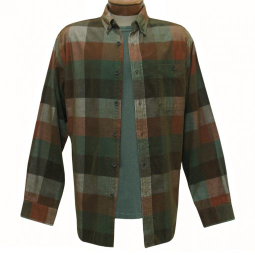 Men's Basic Options Corduroy Long Sleeve Yarn Dyed Plaid Shirt, #81948-5B Green/Rust