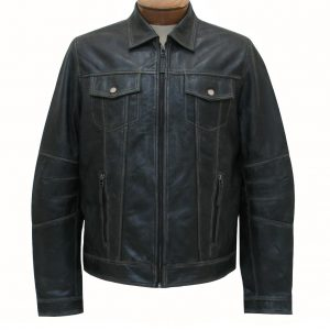 Men's Scully Premium Lambskin Vintage Leather Jacket #1032 Black