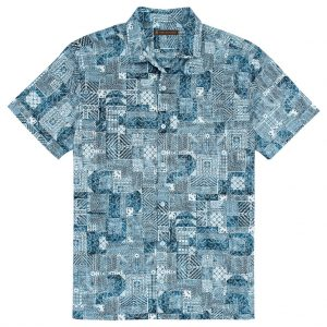 Men's Tori Richard Cotton Lawn Relaxed Fit Short Sleeve Shirt, Maze Runner #MA03 Neptune (SOLD OUT!)