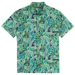 Men's Tori Richard Brown Label Cotton Lawn Relaxed Fit Short Sleeve Shirt, Leaf Relief #MF14 Navy (L, ONLY!)