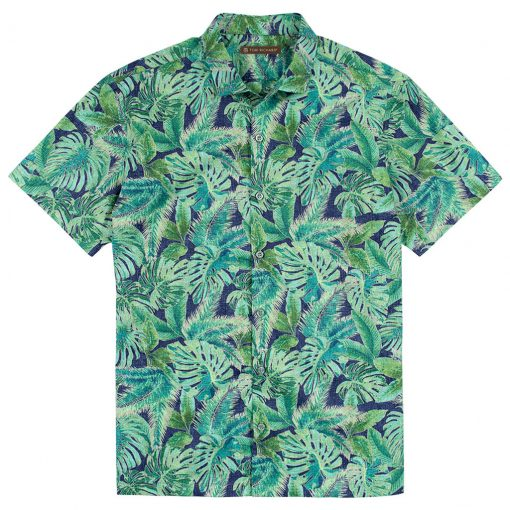 Men's Tori Richard Brown Label Cotton Lawn Relaxed Fit Short Sleeve Shirt, Leaf Relief #MF14 Navy