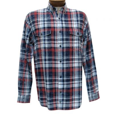 Men's F/X Fusion Cotton Collection Long Sleeve Washed Plaid Shirt With Contrast Trim, #C201 Navy/Red