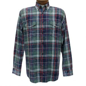 Men's F/X Fusion Cotton Collection Long Sleeve Washed Plaid Shirt With Contrast Trim, #C202 Olive/Navy (L, ONLY!)