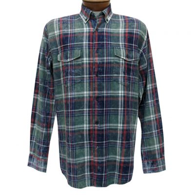 Men's F/X Fusion Cotton Collection Long Sleeve Washed Plaid Shirt With Contrast Trim, #C202 Olive/Navy