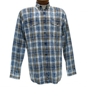 Men's F/X Fusion Cotton Collection Long Sleeve Washed Plaid Shirt With Contrast Trim, #C203 Navy/Gold