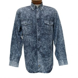 Men's F/X Fusion Cotton Collection Long Sleeve Washed Solid Sport Shirt, #C208 Grey/Blue