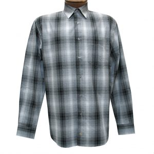 Men's F/X Fusion Long Sleeve Woven Sport Shirt, Charcoal Ombre Plaid #D1104 (L & XXL, ONLY!)