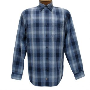 Men's F/X Fusion Long Sleeve Woven Sport Shirt, Blue Ombre Plaid #D1105 (XL & XXL, ONLY!)