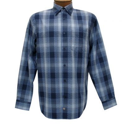 Men's F/X Fusion Long Sleeve Woven Sport Shirt, Blue Ombre Plaid #D1105