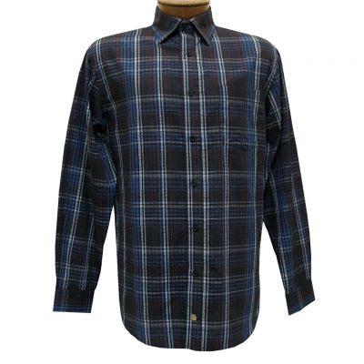 Men's F/X Fusion Long Sleeve Woven Sport Shirt, Burgundy/Royal Multi Plaid #D1111
