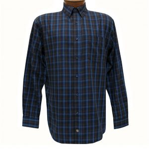 Men's F/X Fusion Long Sleeve Woven Sport Shirt, Navy/Brown Textured Plaid #D1113 (L & XXL, ONLY!)