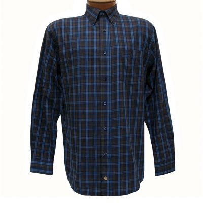 Men's F/X Fusion Long Sleeve Woven Sport Shirt, Navy/Brown Textured Plaid #D1113