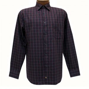 Men's F/X Fusion Long Sleeve Woven Sport Shirt, Burgundy/Charcoal Rectangles #D1116