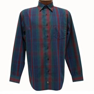Men's F/X Fusion Long Sleeve Woven Sport Shirt, Purple/Teal/Burgundy Multi Plaid #D1124 (SOLD OUT!)