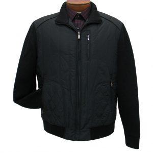 Men's ENZO Mock Neck Bomber Jacket With Knit And Nylon Trim, Morris-1 Black