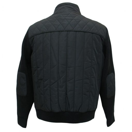 Men's ENZO Bomber Jacket With Knit And Nylon Trim, Morris-1 Black
