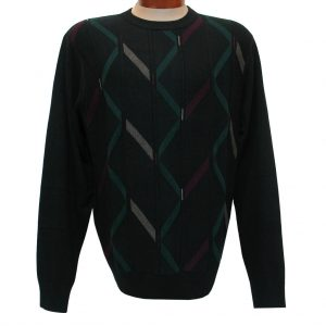 Men's F/X Fusion Long Sleeve Vertical Cable Novelty Crew Neck Sweater, #1033 Black