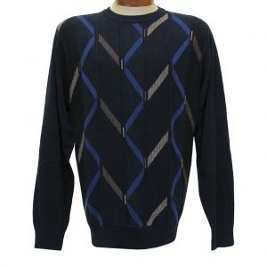 Men's F/X Fusion Long Sleeve Vertical Cable Novelty Crew Neck Sweater, #1033 Navy (SOLD OUT!)