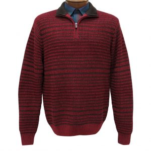 Men's F/X Fusion 1/4 Zip Mock Neck Novelty Long Sleeve Sweater #1035 Red